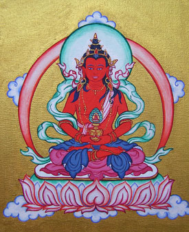 Amitayus thangka painted by Carmen Mensink