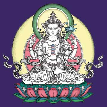 Chenrezig (Skt.: Avalokiteshvara) The great Bodhisattva of Compassion, painted by Carmen Mensink