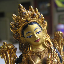 This is how the Buddha statue of Green Tara looks after the restoration and painting - brand new again!