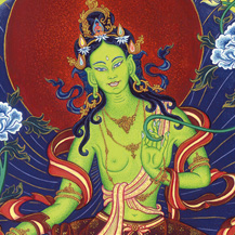 Green Tara painted by Carmen Mensink