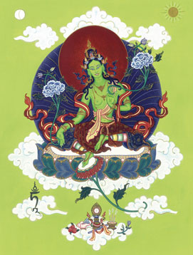 Green Tara thangka painted by Carmen Mensink