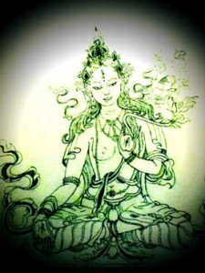 white-tara-student-tibetan-thangka-drawing