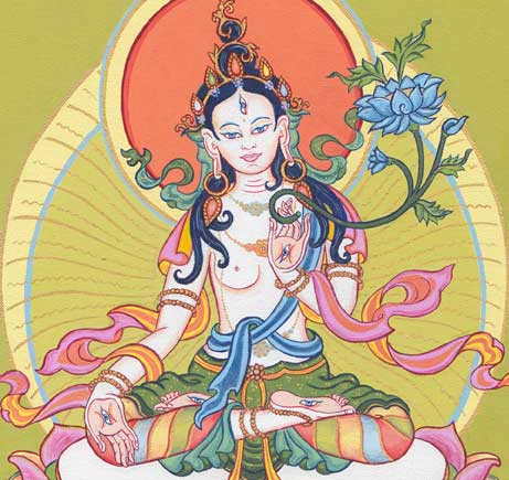 White Tara painted by Carmen Mensink during a special 24hr Long Life Practice