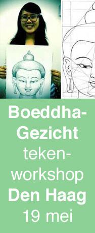 Boeddhahoofd tekenen volgens de tibetaans boeddhistische thangkatraditie