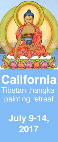 California tibetan buddhist thangka painting retreat where you will learn how to paint a Buddha