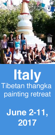 Tibetan thangka painting retreat in northern Italy